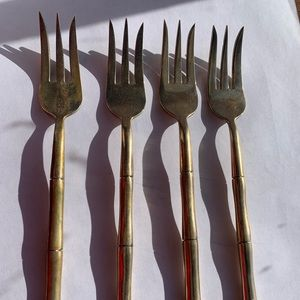 Faux Bamboo Thai Brass Vintage Forks